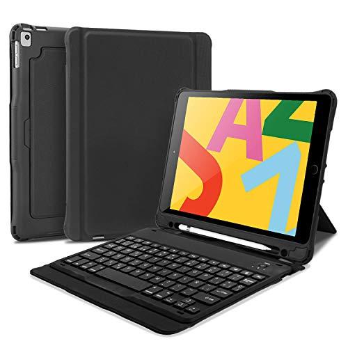 OMOTON Funda con Teclado Desmontable para iPad 10.2 /iPad Pro 10.5 Pulgadas/iPad Air 10.5/Air 3, Estuche ultradelgado para Teclado Bluetooth con Soporte Incorporado de Eje Giratorio, Ligero, Negro