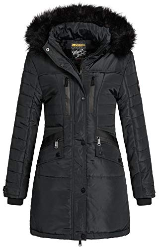 Geographical Norway Damen Winterjacke Parka Brunch Steppjacke mit Fellkapuze Black XL