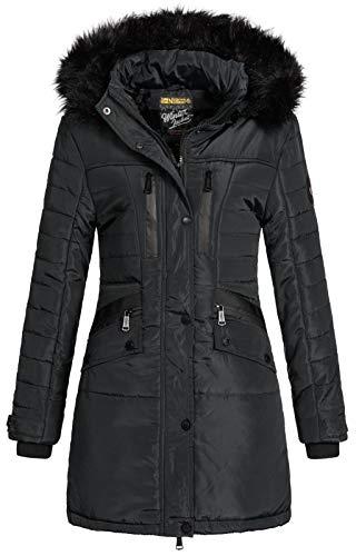 Geographical Norway Parka Brunch Chaqueta acolchada con capucha de piel para mujer negro L