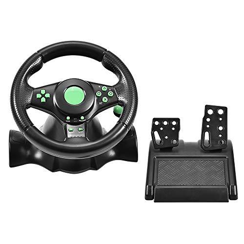 Mugast Volante de Carreras de 180 ° Vibration Driving Gaming con Ventosa...
