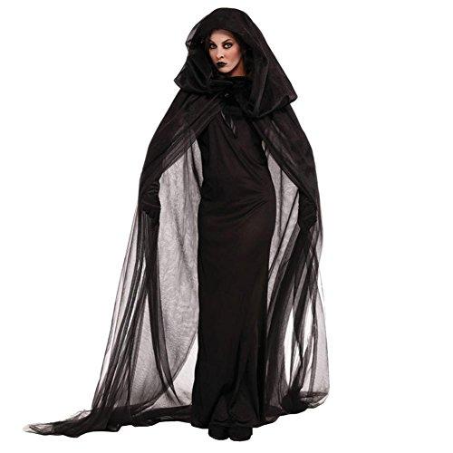 Vestaglia strega costume di Halloween Night Wandering Soul donna fantasma costume Nightclub rave party tuta ruolo giocare con guanti punk gotico mantello, nero