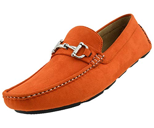 Amali Walken Men's Loafers Slip On Shoes – Casual Slippers for Men - Designer Driving Moccasins with Metal Bit and Detailed Stitching (Orange/12)