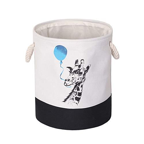 WUJIANCHAO 1pc EVA Canvas Fabric Foldable Round Laundry Basket Dirty Clothes Organizer Storage Box Toy Bin Bucket Basket With Handles
