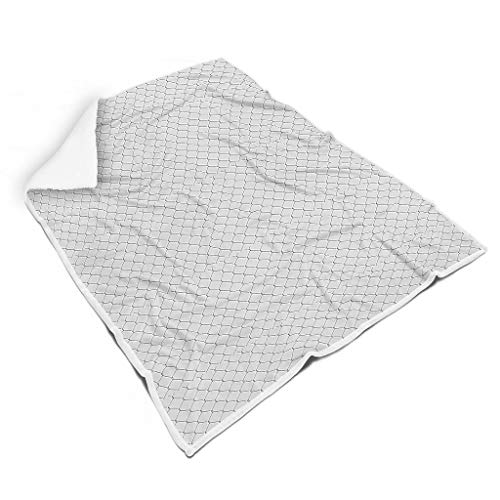 NC83 Blanket zwart-wit-net patroon print premium twee maten dekens - grappige prikkeldraad ultra zacht voor lunch gebruik White 150x200cm