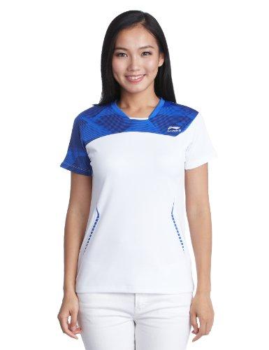 Li Ning Damen T-Shirt Badminton Kurze Ärmel Squash Oberteil Sportbekleidung Neu XXL Weiß - weiß