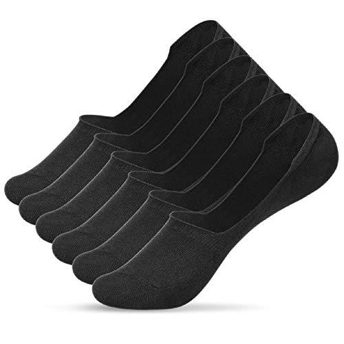 Voqeen Hombres Calcetines Invisibles 6 Pares Corte bajo No Show Calcetines Algodón Respirable Antideslizantes Lightweight Tobilleros Calcetines