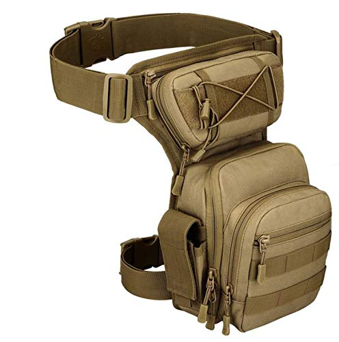 Jadedragon Tactical Drop Leg Pouch Bag Multi-Function Thigh Bags for Men Women Motorcycle Bike Waist Fanny Pack Outdoors Travel Riding Cycling Fishing Camping Hiking (Brown)