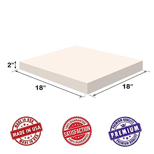 """Upholstery Visco Memory Foam Square Sheet- 3.5 lb High Density 2""""x18""""x18""""- Luxury Quality For Sofa, Chair Cushions, Pillows, Squishy, Doctor Recommended for Backache & Bed Sores by Dream Solutions USA"""