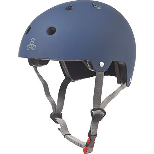 Triple Eight Dual Certified Bike and Skateboard Helmet, Blue Matte, Small / Medium