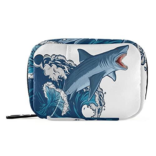 Naanle Ocean Shark Jump Pastillero 7 días Pastillero Pastillero Viaje Bolsa Organizador con Cremallera Portátil Semanal Tamaño Compacto para Vitamina Soporte