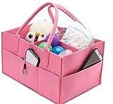 Cesta para pañales de bebé, cesta de almacenamiento portátil de fieltro con compartimentos intercambiables, bolsa de viaje para coche, bolsa para toallitas de bebé