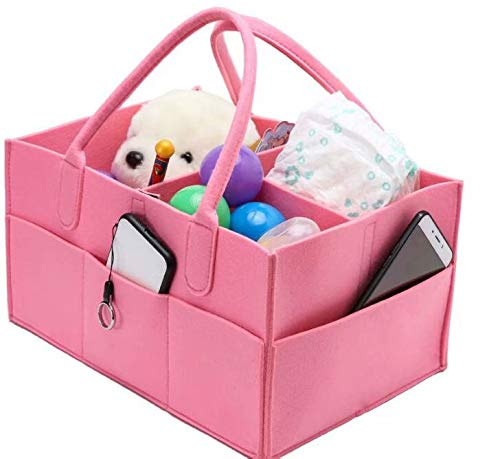 Baby Diaper Caddy, Portable Nursery Storage Bin Felt Basket with Changeable Compartments, Car Travel Bag,Baby Wipes Bag