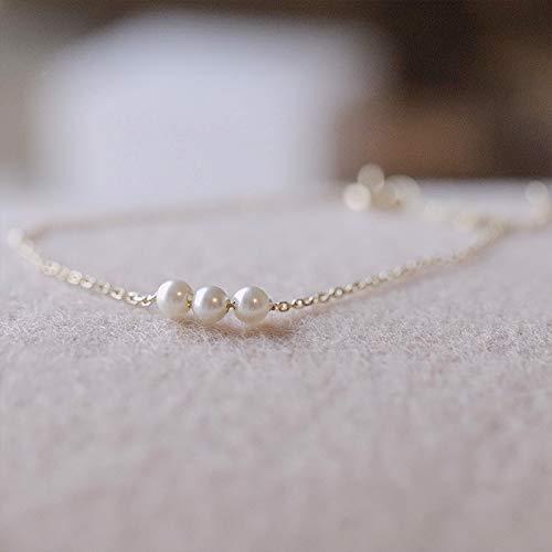 JZHJJ eenvoudige en stijlvolle klassieke paar armband parel armband vrouwelijke eenvoudige persoonlijkheid vers sterling zilveren armband vrouwelijke sterling zilver bos honing vriendinnen wild bevat: armband