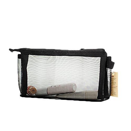 Meigold Triangle Trousse transparente pour fournitures scolaires, trousse de rangement, trousse de maquillage pour homme et femme, 20 x 11 cm (noir)