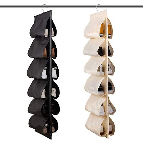 JIAMI HOME - Armario organizador de zapatos para colgar, 2 unidades de zapateros de tela con 12 bolsillos, estante apilable para...