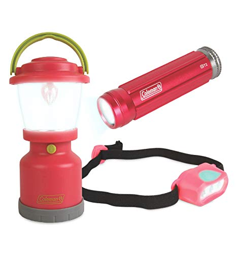 Coleman Kids Adventure Light Set for Kids – Pink/Rosé, Set of 3 – Includes LED Lantern, Headlamp, Flashlight – Battery Powered, an Ideal Gift – Great for Camping Trips and Backyard Sleepovers