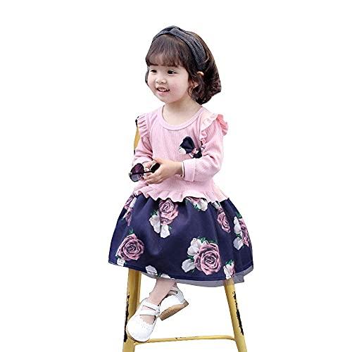 KBZONE Girl's Empire Knee Length Dress (Pink, 2-3 Years)