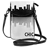 Jiger Women Small Cell Phone Purse Crossbody,Downtown Skyscrapers Illinois Tourism Travel Country Urban Minimalist