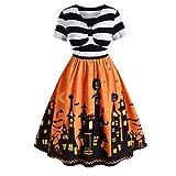 GOKOMO Halloween Damen Vintage Kurzarm Kleid mit V-Ausschnitt und geknotetem V-Rücken(Gelb,Medium)