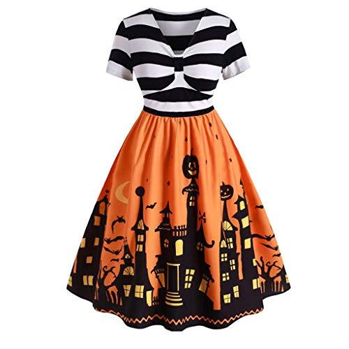 Dorical Damen Halloween Vintagekleid Wickelausschnitt A-Linie Kurzarm V-Ausschnitt Rockabilly Casualkleid Cocktail Kleider Partykleid ABVERKAUF(Gelb,X-Large)