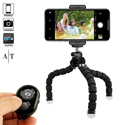 Phone Tripod, Portable and Adjustable Camera Stand Holder with Bluetooth Remote and...