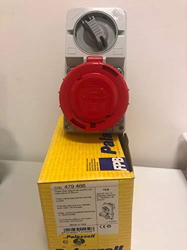 Toma fija estanca de cuadro con interruptor 32 A 3P + N + T