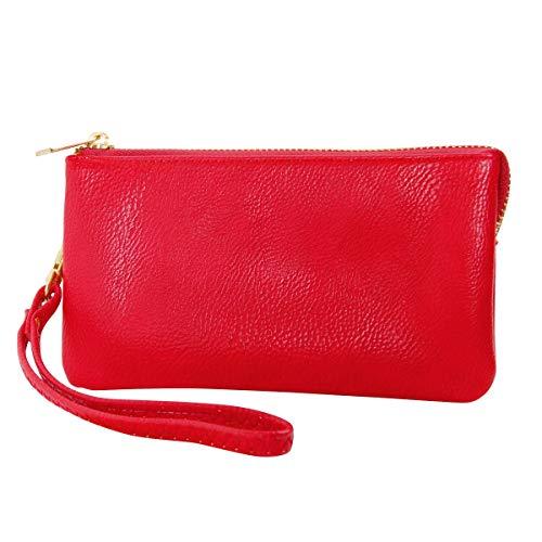 Humble Chic NY Veganes Lederarmband Wallet Unterarmtasche Bag - Kleine Telefon-geldbeutel-handtasche, Rot, Hell Kirsche, Scharlach, Vermilion