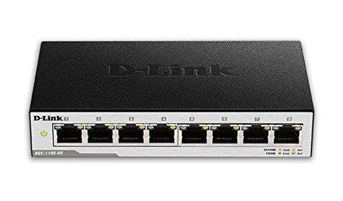 D-Link DGS-1100-08 Switch Smart Web Manageable 8 ports Gigabit 10/100/1000mbps - Idéal Partage de Connexion et Mise en Réseau Small/Home Office