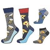 soxo Herren 4 Paar Bunte Socken | Größe 40-45 | Motivsocken aus Baumwolle - Pizza Bier Muster | Lange & Sneaker Socken