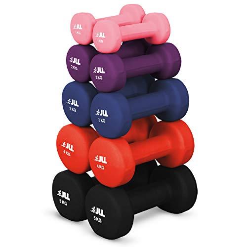JLL® Neoprene Coated Steel Dumbbells Aerobic Weight Fitness Training (2x 1kg) -...