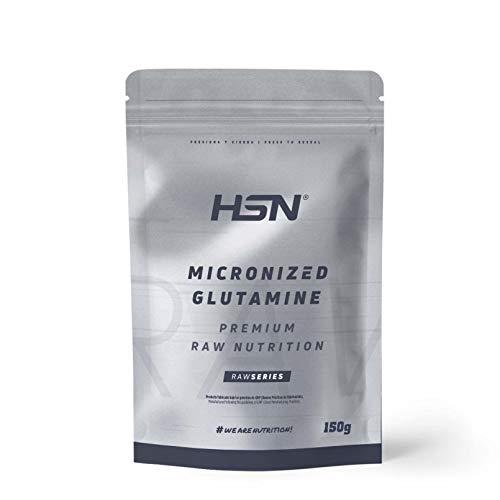 Glutamina Micronizada de HSN   Kyowa como Materia Prima   100% Pura   Suplemento para favorecer el Crecimiento y Recuperación Muscular   Vegano, Sin Gluten, Sin Lactosa, Sin Sabor, 150 gr