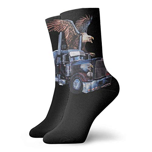 JONINOT Camionero Eagle Wolf Bandera americana Hombres Deportes esenciales Calcetines de algodn informales Medias W8.5CM X L30CM