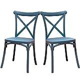 2 Sillas Crossback Color Azul, Sillas de Comedor o Cocina. Incluye 2 sillas. Elegantes para Cocina o Comedor, apilables y Muy Resistentes.