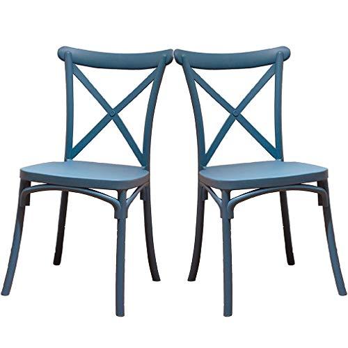2 x Crossback-Stühle, blau, für Esszimmer oder Küche, mit 2 Stühlen, elegant, für Küche oder Esszimmer, stapelbar, sehr robust.
