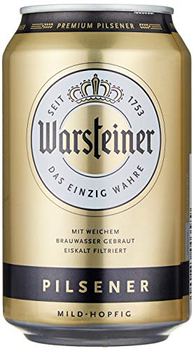 Warsteiner Premium Pilsener Dosenbier mild-hopfig, internationales Bier nach deutschem Reinheitsgebot, EINWEG (24 x 0,33 Liter)