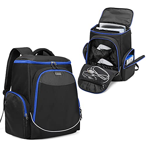 """Trunab Gaming Console Backpack Compatible with PS5/PS4/PS4 Pro/PS4 Slim/Xbox One/Xbox One X/Xbox One S, Travel Carrying Bag with Multiple Pockets for 15.6"""" Laptop and Gaming Accessories"""