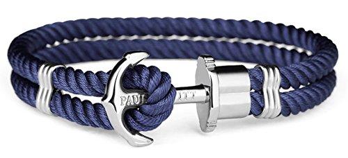 Paul Hewitt Homme Plaqué argent Bracelet en corde - PH-PH-N-S-N-XXL