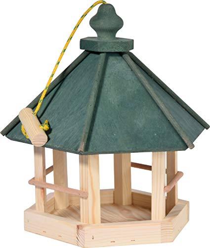 dobar 90038FSCe Klassisches Vogelhaus aus Holz zum Aufhängen 6-eckig, 29 x 32 x 36 cm, grün