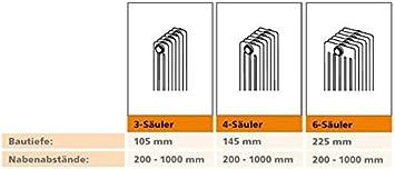 Arbonia Cambiotherm Bautiefe 145 mm//Bauh/öhe 970 mm verschiedene L/ängen Austauschheizk/örper 970 mm x 360 mm