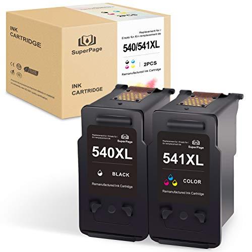 SuperPage Kompatible für Canon PG-540XL CL-541XL Wiederaufbereitet Druckerpatronen fürCanon Pixma MG4250 MG3550 MG2250 MX395 MG4150 MG3150 MG2150 MG3250 MX525 MX455 MX515 MX435(Schwarz,Farbe)