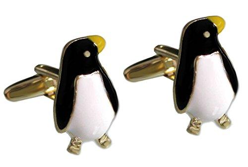 magdalena r. Manschettenknöpfe Pinguin schwarz cremeweiss gelb vergoldete Fassung + Konturen inkl.Geschenkbox Sale