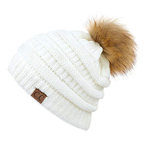 Hatsandscarf CC Exclusives Unisex Ombre Ribbed Confetti Knit Beanie with POM (HAT-43) (Ivory)