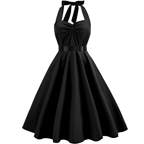 Lenfesh Multicolor Woman Vintage Dress Polka Dot Pin Up Sleeveless Halter Rockabilly Evening Dress For Party
