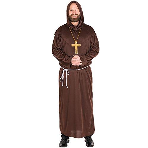 TecTake dressforfun Hochwertige Mönchsrobe Mönchskutte Herren Mönch Kostüm mit separater Kapuze, Kreuzkette und Bindegürtel (L | Nr. 300037)