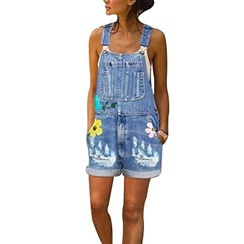 Shujin Damen Kurz Jeanslatzhose Denim Vintage Loose Fit Overall Jumpsuit Playsuit Jeans Hosenanzug Romper mit Blumen Drucken Latzshorts
