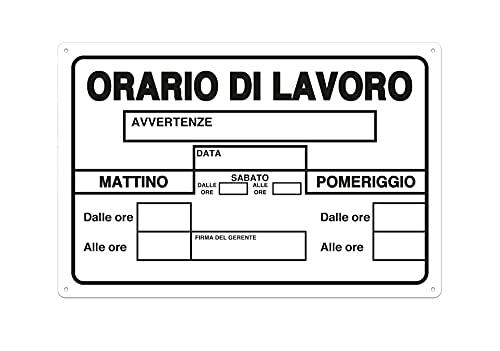 Nitek Cartello orario di Lavoro in PVC 30cm x 20cm– Cartello Autoadesivo  Sign, Schild   Impermeabili Lavabili, Ufficio, Palestra, Ristorante, Bar