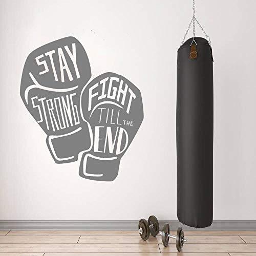YuanMinglu Boxerhandschuhe Zitate halten stark inspirierende Wandkunst Aufkleber Boxen Fitnessstudio Wandkunst Dekoration mit Benutzerdefinierten Farben 57x66cm