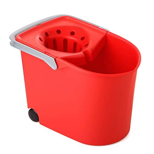 Tatay Cubo de Fregona con Ruedas, de PP, Libre de BPA, Escurridor por Presión, con Asas. Fabricado en España. Color Rojo