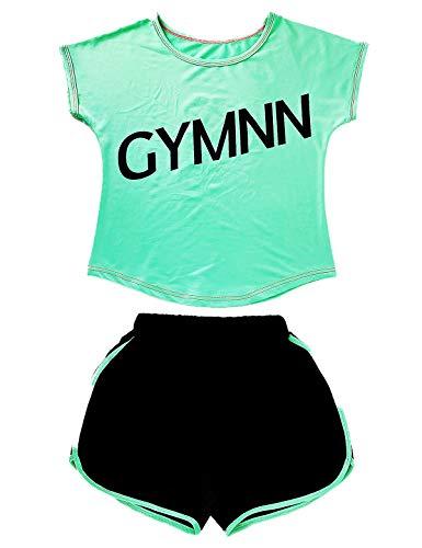 Echinodon Mädchen Sport-Set 2tlg Atmungsaktiv T-Shirt + Shorts Trainingsanzug für Jogging Yoga Sommer (120, Grün)