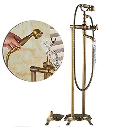 KUELXV Ducha de mano Grifo mezclador de bañera de bronce negro montado en el piso, grifo de lavabo de bañera de doble manija, grifo mezclador de bañera con pie de garra independiente, latón antiguo